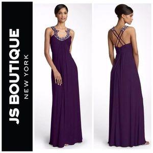 Matte Jersey Plum Beaded Evening Gown